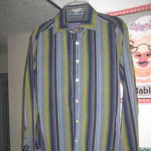 Robert Graham Blue Green Striped Button-down  sz L